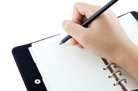 hand writing on notebook isolate on white