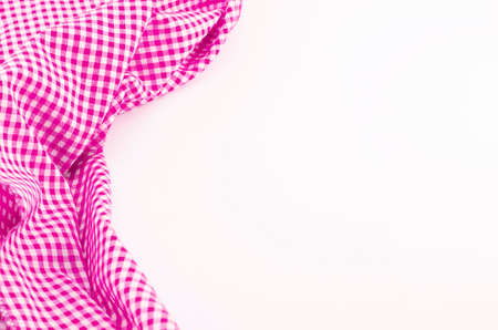 picnic cloth: Pink Napkin on white background with place for text Stock Photo
