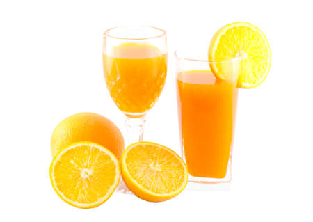work path: Orange juice and slice isolated on white with work path