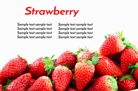 work path: Strawberries Border isolate on white with work path and sample text Stock Photo