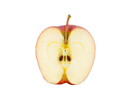Apple slice isolated on white with clipping path