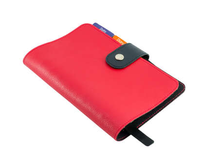 treatise: Red Leather diary book isolate Stock Photo