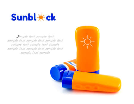 Summer concept : Beach items  Bottles with sunblock lotion isolate on white with clipping path