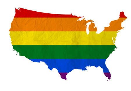 homosexuality: Rainbow flag on United states of america with Vintage paper texture  Homosexuality samesex marriage
