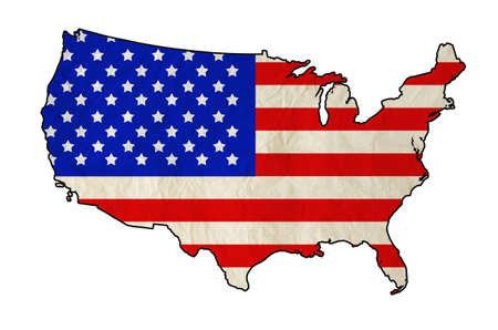 Flag of United States of America in USA map with old paper texture  Independence Day Banque d'images