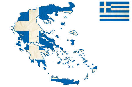 hellenic: Flag map of the Greece with vintage old paper - Hellenic Republic, isolate on white with clipping Stock Photo