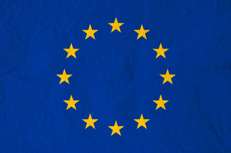rumple: Flag of Europe with old vintage paper texture - Council of Europe Stock Photo