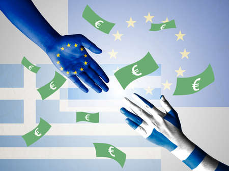 foreign policy: Flag of European Union and Greece painted on hand, isolate on flag background with clipping path - Greece Crisis