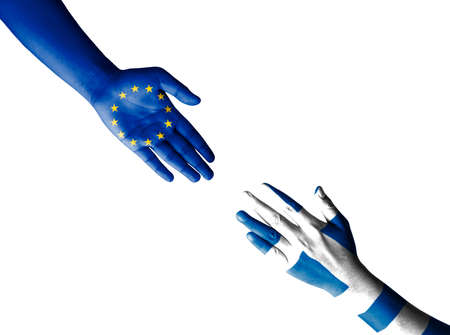 greece: Flag of European Union and Greece painted on hand, isolate on white with clipping - International cooperation concept
