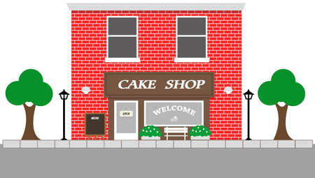 brick building: Vintage street view with Cake Shop, Building with Red brick wall