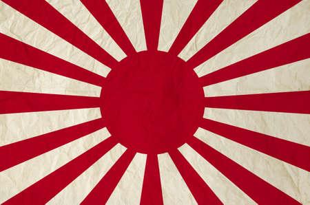 ヴィンテージの古い紙 - 旧日本軍の旭日旗の戦争の旗と日本の国旗