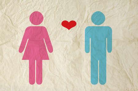 corazon humano: Muestra masculina y femenina con papel de textura vintage fondo
