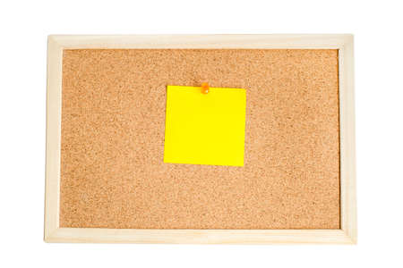 cork wood: Blank colorful notes pinned on cork wood notice board isolate on white with clipping path