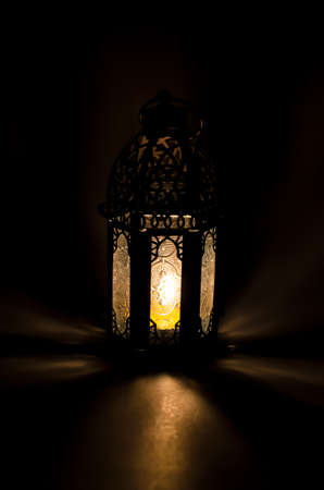 Arabic lamp with beautiful lights - candle light Stock Photo