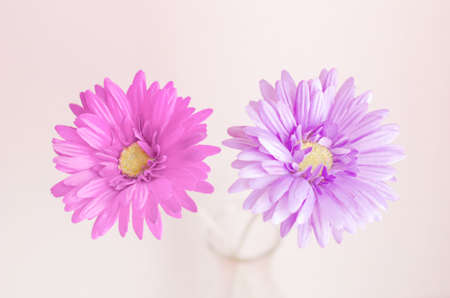 Pastel artificial flower in bottle with vintage color and soft focus 版權商用圖片
