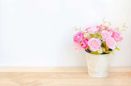 rose coloured: Pastel Coloured Artificial Pink Rose Wedding Bridal Bouquet in flower pot with soft vintage tone