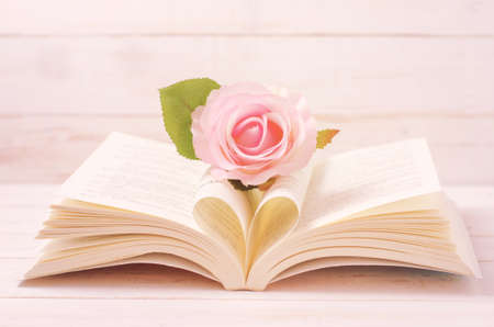 Pastel Rose and opened Book with heart shape in the middle page - Soft Vintage color Stock Photo