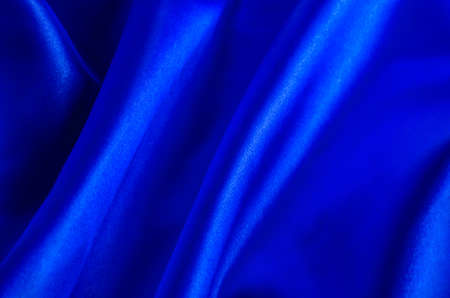 blue satin: Abstract background - Crumpled of blue satin textile Stock Photo