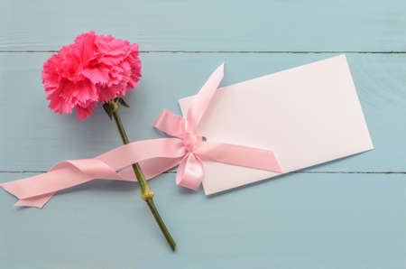 Blank white greeting card with pink carnation flower and ribbon blank white greeting card with pink carnation flower and ribbon bow on blue wooden background stock mightylinksfo