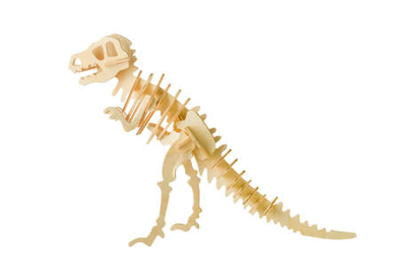 Close up of Tyrannosaurus skeleton wooden puzzle toy isolated on white background with clipping path