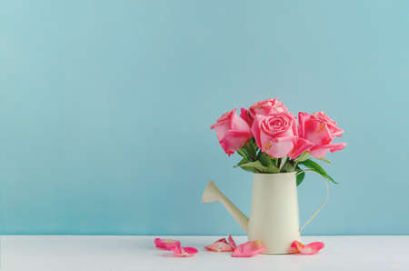 Withered pink rose flowers at watering can on white and blue wooden background with vintage tone, Vintage rose Stock Photo