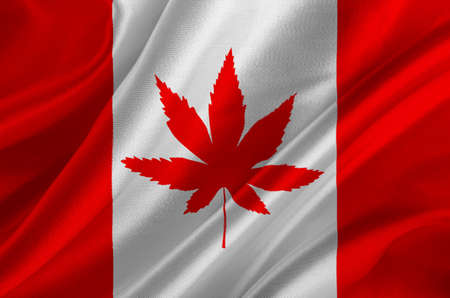 Flag of Canada with marijuana leaf on crumpled textile, Cannabis in Canada