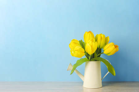 Artificial yellow tulip flowers at watering can on blue wooden