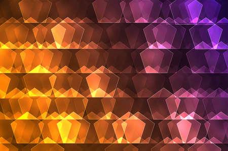 Orange and purple pentagon  abstract gradient design