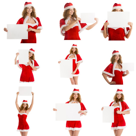 Set of 9 pictures christmas postcard cute santa girl in xmas costume holds blank paper for text photo