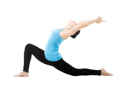 woman relaxing: Sporty yogi girl doing exercises, asana Anjaneyasana, Low Lunge Yoga Pose, isolated on white background