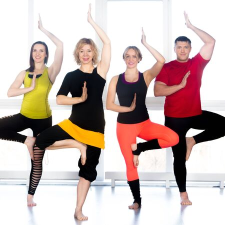 vriksasana: Group of four happy people doing yoga training in class, standing in asana, Tree Pose, vrikshasana (Vriksasana)