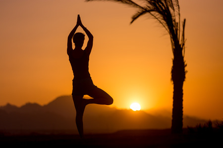 vriksasana: Back view of young woman doing fitness, yoga or pilates training, standing in asana Vrikshasana (Tree Pose) at sunset in picturesque location with mountains and palm trees Stock Photo