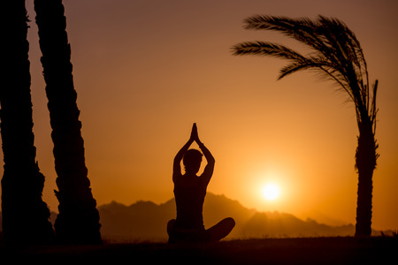 sukhasana: Silhouette of young woman sitting in serene picturesque place among palm trees, watching sun rising or setting in mountains, meditating in sukhasana easy pose