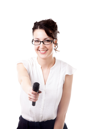 interview: Presentation, speech conference, interview, beautiful young businesswoman, reporter holding microphone towards camera, isolated on white background