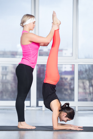 feathered: Fitness practice, instructor helping young beautiful student female to do handstand in class, Feathered Peacock Pose, Pincha Mayurasana, two fit people working out in sports club, full length