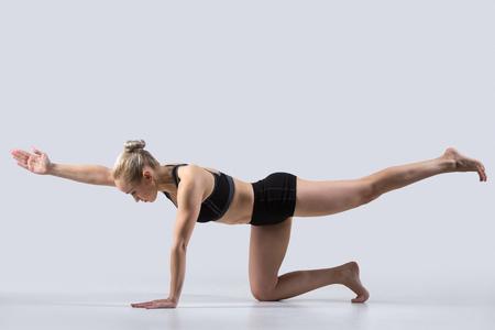 ejercicio aeróbico: mujer que practica yoga, haciendo balance de perro ejercicio de aves, de rodillas brazo opuesto y extensión de la pierna, Sunbird asana (chakravakasana), la elaboración de ropa deportiva negro, estudio joven y bella deportivo Foto de archivo