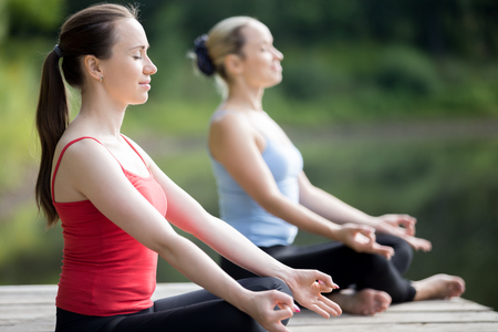 women working out: Portrait of two serene smiling beautiful sporty fit young women working out outdoors in park on summer day