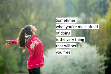 Profile portrait of happy sporty woman relaxing in park. Motivational phrase