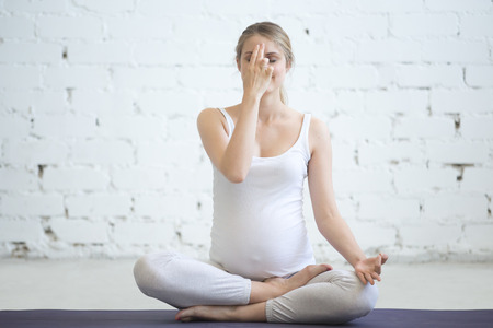 prenatal: Pregnancy Yoga and Fitness. Portrait of young pregnant yoga model working out in loft. Pregnant fitness person smiling while practicing yoga at home. Prenatal Pranayama. Alternate Nostril Breathing Stock Photo