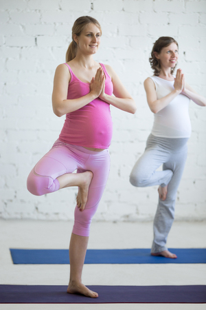 prenatal: Pregnancy Yoga and Fitness concept. Portrait of beautiful young pregnant yoga model working out indoor. Pregnant happy fitness person practicing yoga at home. Prenatal Tree Pose. Full length