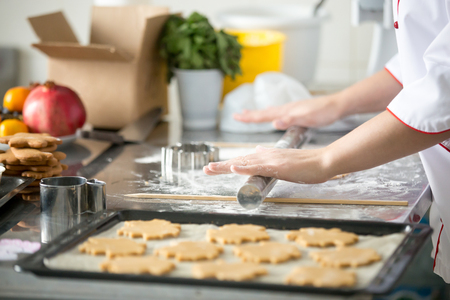 Gingerbread cookies in a row on a tray, on the baking paper, ready to be baked in the oven, female hands rolling dough with a rolling pin. Closeup, Christmas concept photo Stock Photo