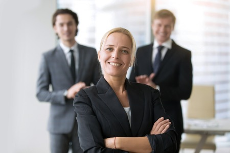 finalist: Group of business people, congratulating woman, business advisory services, global ambitions, portrait of smiling female founder, inspiring true story of most successful startup, interview finalist Stock Photo