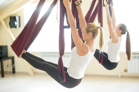 피트 니스 클럽에 보라색 그물에서 공중 요가 연습을 하 고 두 젊은 아름 다운 요기 여성의 그룹. 매력적인 모델, 클래스에서 팔 균형 운동을하고 운동