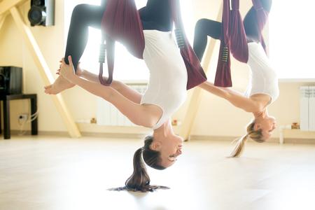 피트니스 클럽에서 보라색 그물 침대에서 공중 요가 연습을하고 두 젊은 요기 여성. 아름 다운 행복 한 여성은 수업 시간에 비행기 요가 수행, 밖으로 작동합니다. EKA의 PADA의 변화 포즈 chakrasana 스톡 콘텐츠 - 68446636