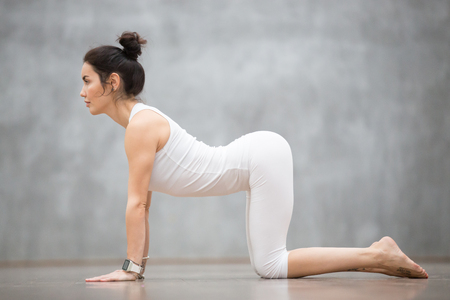 Beautiful young woman with tattoo on her foot meaning Wild cat working out against grey wall, doing yoga or pilates exercise. Cow, Bitilasana, asana paired with Cat Pose on the exhale. Full length