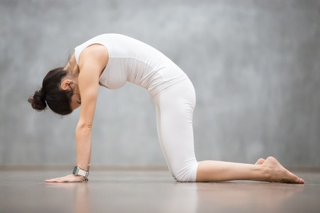 Beautiful young woman with tattoo on her foot meaning Wild cat working out against grey wall, doing yoga or pilates exercise. Cat, Marjaryasana, asana paired with Cow Pose on the inhale. Full length