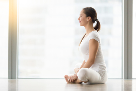konasana: Young smiling attractive woman practicing yoga, sitting in Butterfly, exercise, baddha konasana pose, working out, wearing sportswear, white t-shirt, pants, indoor full length, profile, copy space Stock Photo