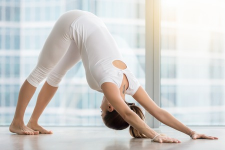 Young woman practicing yoga, stretching in adho mukha svanasana exercise, Downward facing dog pose, working out, wearing sportswear, white t-shirt, pants, indoor full length, near floor window