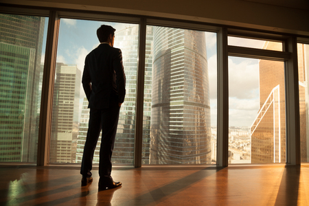 Thoughtful contemplative businessman wearing suit standing back holding hands in pockets, looking out of big window at city buildings, gets inspiration for business project, enjoys sunset, rear view Banco de Imagens - 83277060