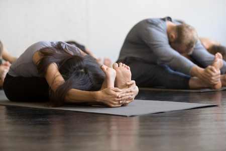 Group of young sporty people practicing yoga lesson with instructor in gym, sitting in paschimottanasana exercise, Seated forward bend pose, friends working out in club, indoor full length, studio Stockfoto